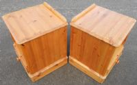 Pair Pine Locker Bedside Cabinets